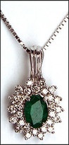 14kt Emerald and Diamond Cluster Pendant