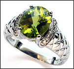 2.33ct Peridot & Diamond Ring in White Gold