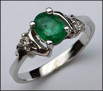 White Gold Emerald Gemstone Ring with .06ct Diamond
