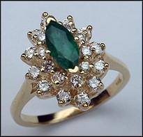Diamond & Emerald Cluster Ring - .67ct Emerald