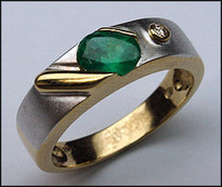 .61ct Emerald and Diamond Two Tone Gold Band