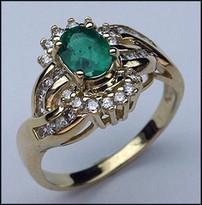 Ladies Yellow Gold Emerald & Diamond Ring