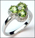 Peridot Gemstone & Diamond Cluster Ring - 1.95ct Total Weight