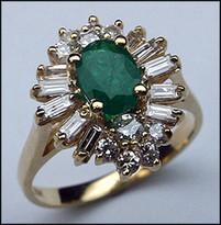 Ladies Emerald & Diamond Baguette Ring