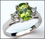 3 Stone Peridot & Diamond Ring, 1.12ct Peridot