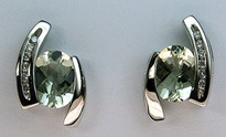 2.10ct Green Amethyst & Diamond Stud Earrings