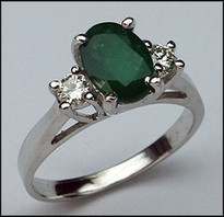 3 Stone Emerald & Diamond Ring