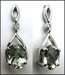 2.20ct Green Amethyst Earrings - White Gold