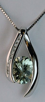 2.20ct Green Amethyst and Diamond Gold Pendant