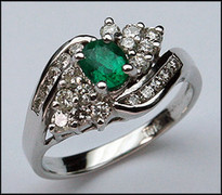 Emerald and Diamond Cluster Ring - 22 Diamonds
