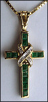 Diamond Cross Pendant with .36ct Emeralds