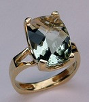 5.80ct Green Amethyst Yellow Gold Ring