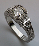 1.01ct GIA Cushion Cut Antique Rep. Diamond Engagement Ring