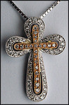 18kt White and Rose Gold Diamond Cross Pendant, 1/3ct