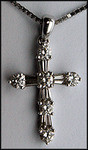 18kt Diamond Cross Pendant, F Color .62ct Diamond