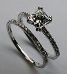 Diamond Engagement Ring Set, Princess Cut GIA 1.03ct F Color