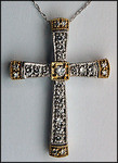 Two Tone Gold and Diamond Cross, 1/2ct .50ct Diamond