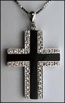 14kt Diamond Onyx Cross with 1/4ct Diamond