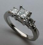 Princess Cut 3 Stone Engagement Ring, Platinum, 1.47ct