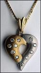 Two Tone Matte Finish Diamond Heart Pendant, 1/4ct Diamond