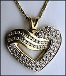 Yellow Gold and Diamond Heart Pendant, .86ct Diamond