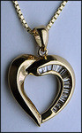 Yellow Gold Baguette Diamond Heart, .30ct