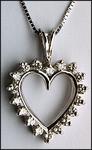 Open Heart Diamond Pendant, .91ct, 14kt White