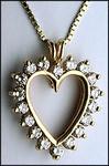 Open Heart Diamond Pendant, 1.10ct Diamond, Yellow Gold