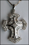 Pave and Baguette Diamond Cross, 18kt White Gold, F Color