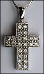 Pave set 14kt White Gold Diamond Cross, 1.02ct Diamond