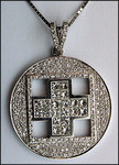 Diamond Cross Pendant with 1.90ct F Color Diamonds