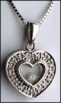 Floating Diamond Heart Pendant, 1/4ct, White Gold