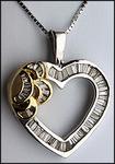 Diamond Heart Pendant in Two Tone Gold, 1.36ct Diamond