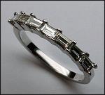 Diamond Wedding Band .53ct  with 7 Baguette Diamonds