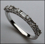 18kt White Gold Round and Baguette Diamond Band