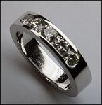 Channel set Ladies Diamond Wedding Band, 14kt White Gold