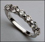 F Color, 18kt White Gold, 7 Diamond Band, 1.15ct