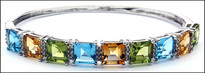 Color Stone White Gold Bangle, Semi Precious Stones