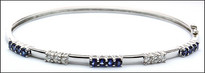 Sapphire and Diamond Bangle Bracelet - 6 Diamonds, 12 Sapphires