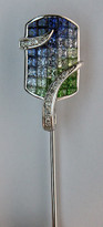 18kt Gold Stick Pin with Tsavorite Gemstones
