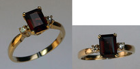 Emerald Cut Garnet 3 Stone Ring