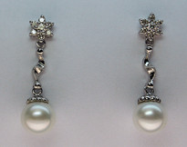 Cultured Pearl and Diamond Dangling Gold Earrings - 7 1/2mm