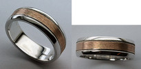 14kt Gold Mens Wedding Band with Pink Gold Center