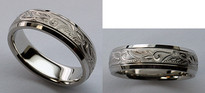 Hand Engraved Mens Wedding Band - Comfort Fit