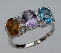 3 Stone Multi Colored Ring with Diamonds