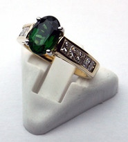 Green Tourmaline Ring with Princess Cut Diamonds