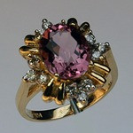 Pink Tourmaline Ring set in Yellow Gold