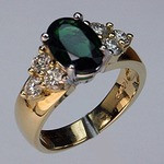 Green Tourmaline Ring with Diamonds
