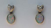 Opal Earrings with Diamonds