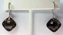 Smokey Topaz Gold Earrings with Diamonds E102220